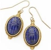 Egyptian Scarab Engraved Lapis Earrings