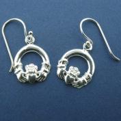 Silver Medium Claddagh Drop Earrings-Made in Ireland