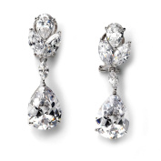 Wedding Earrings, Bridal Earrings with Cubic Zirconia Floral Crystals 1190