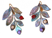 Olive Patina Solid Brass Bayberry Leaf Earrings