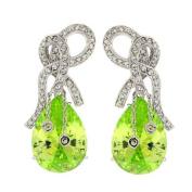 Vintage Bow/Drop Dangle Earrings - Peridot CZ & pavé