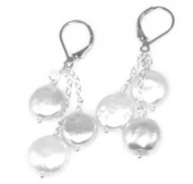 Fresh Water Coin Pearls - Sterling Silver Earrings