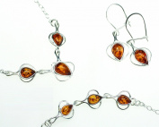 Genuine Baltic Sea Drop Shape Amber Set / Matching Necklace, Bracelet. Earrings Set in Sterling Silver Chain