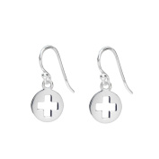 Marie Todd Cross Sterling Silver Round Earrings