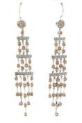 Hook-on Cascade Dangle Earrings Champagne & White CZs