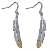 Landstroms Sterling Black Hills Gold and Silver Feather Earrings - ER828SS