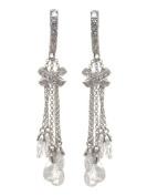 .925 Sterling Silver Hugs'n Kisses Dangle Earrings w/White CZs