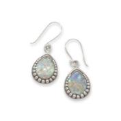 Ancient Roman Glass Earrings Teardrop Shape Bead Sterling Silver
