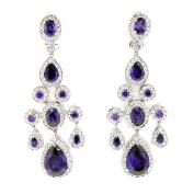 True Chandelier Earrings w/Amethyst & White CZs