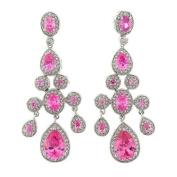 True Chandelier Earrings with Pink Topaz CZs