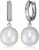 "Honora ""Tuxedo"" White Freshwater Cultured Pearl on Huggie Dangle Earrings"