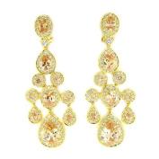 True Chandelier Earrings w/Champagne & White CZs, GP
