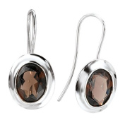 Sterling Chic Collection Silver Oval Smoky Quartz Earrings