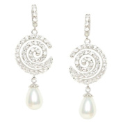 Willow Pearles Sonata White Cubic Zirconia Pave and White Voyageur Pearle Drop Sterling Silver Earring