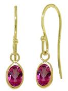 14k Solid Gold Pink Topaz Fish Hook Earrings