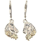Pretty! High Polish! Black Hills Gold Sterling Silver Horse Head Leverback Earrings