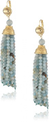 Kenneth Jay Lane Satin Gold and Jade Bead Tassel Earrings