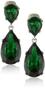 Kenneth Jay Lane Emerald-Colour Teardrop Silver Clip Earrings