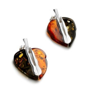 Sterling silver and pear-shaped, cognac and green amber earrings
