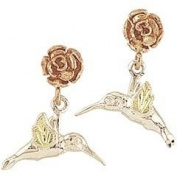 10k yellow-gold Sterlimg-sliver Pretty Authentic Black Hills Gold Hummingbird Earrings