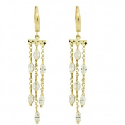 14K Gold Dangle Earrings CZ Three Lines Drop Huggie Hoop Yellow Gold Earrings