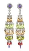 Sumptuous Chandelier Earrings w/Multicolor & White CZs