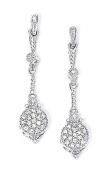 Sterling Silver Diamond Pave Drop Earrings - JewelryWeb