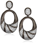 "CZ by Kenneth Jay Lane ""Trend Cubic Zirconia"" Black Rhodium-Plated Brushed Earrings"
