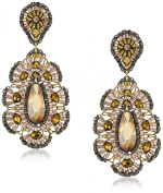 Miguel Ases Bronze Rondelle Embroidered Tear Drop Earrings