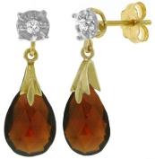 14k Solid Gold Garnet and Diamond Dangle Earrings
