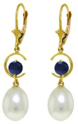 14k Gold Dangle Earrings with Natural Sapphires and Pearls