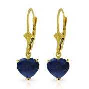 14k Solid Gold Natural Heart-shaped Sapphire Dangle Earrings
