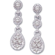 Elegant and . 1/8 ct. tw. Pair of Diamond Earrings in 14K White Gold, 100% Satisfaction Guaranteed.