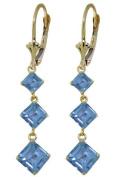14k Solid Gold Blue Topaz Leverback Earrings