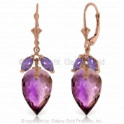 14K Rose Gold Earrings with Dangling Briolette Drop Amethysts
