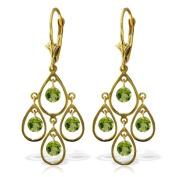 14k Solid Gold Natural Peridot Dangle Drop Earrings