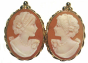 Cameo Earrings Master Carved, Carnelian Conch Shell 14k Yellow Gold Post Back Italian