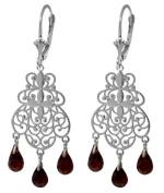 14k White Gold Garnet Chandelier Earrings