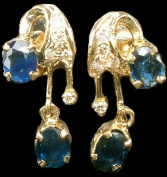 Faceted Sapphire Earrings - 14 K Gold