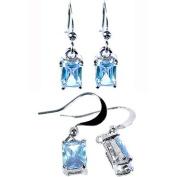 Rizilia Jewellery Rectangle Cut Gemstones Fine CZ 18K White gold Plated Dangle Earrings Simple Modern Elegance [Free Jewellery Pouch]