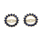 0.98CTW 14K Yellow Gold Genuine Blue Sapphire Round Shaped Earrings Jacket