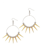 Hoop Earrings with Gold Spikes and Silver Balls