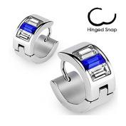 Pair Stainless Steel Blue Cz Crystal Emerald Cut Hoop Earrings Mens Womens