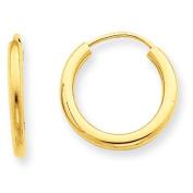 14k 2mm Polished Round Endless Hoop Earrings