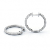 0.25 Carat Sterling Silver Diamond Hoop Earring