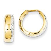 14K Two-Tone Gold Diamond Cut Huggie Hoop Earrings, 15mm