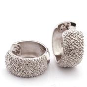 0.27 Carat Sterling Silver Diamond Hoop Earring