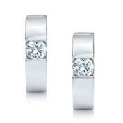 0.50 ct Ladies Round Cut Diamond Hoop Earrings in 14 kt White Gold