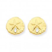 14k Yellow Gold Sand Dollar Post Earrings. Comes in a lovely Gift Box