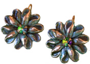 Olive Patina Solid Brass Zinnia Floral Earrings - Dark Vitrail Aurora. Crystals